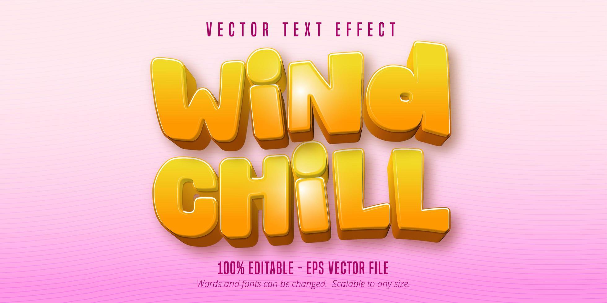 efeito de texto frio do vento vetor