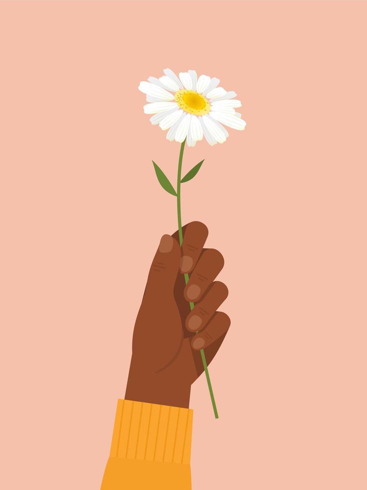 mão negra segurando flor branca vetor