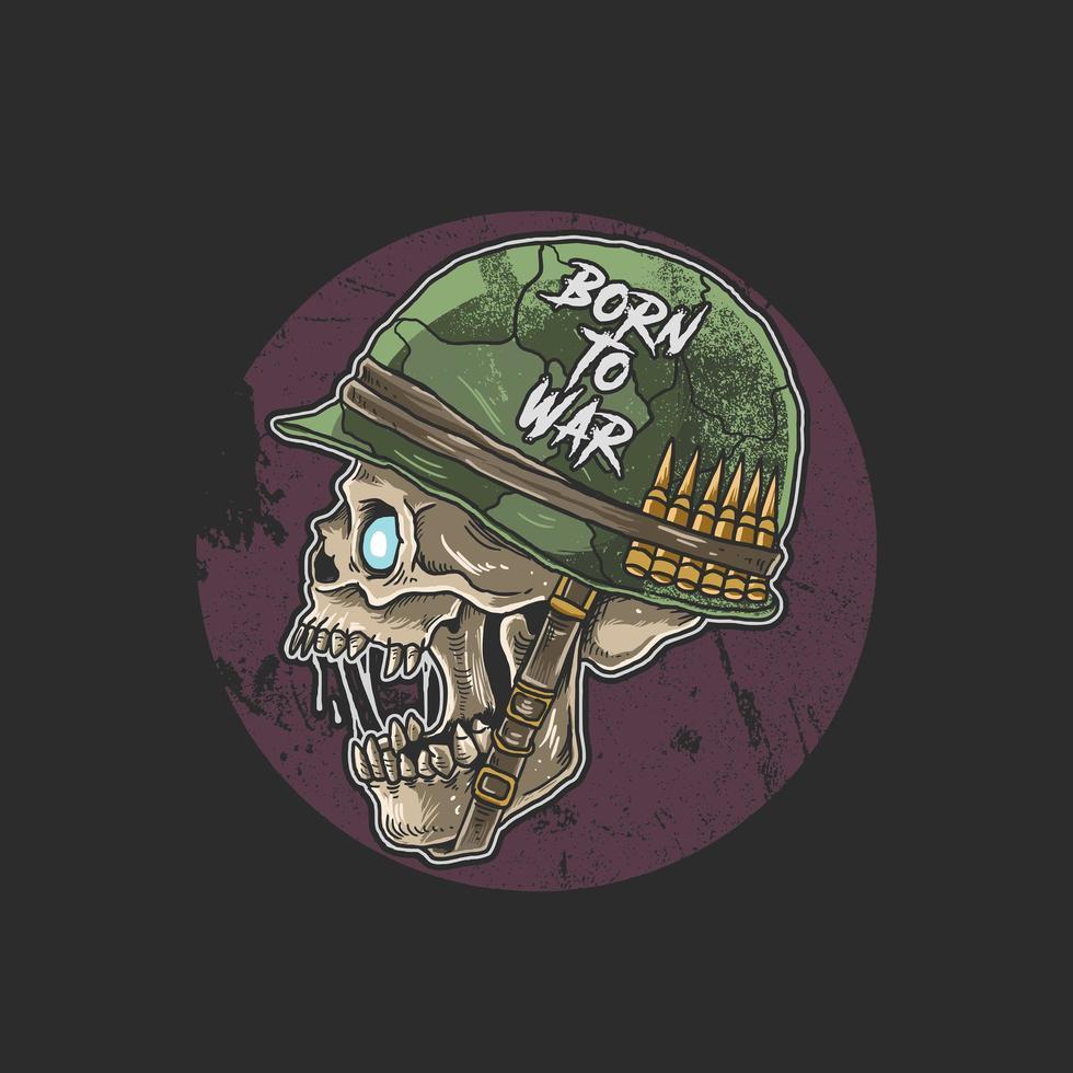 perfil lateral do soldado do crânio de zumbi vetor