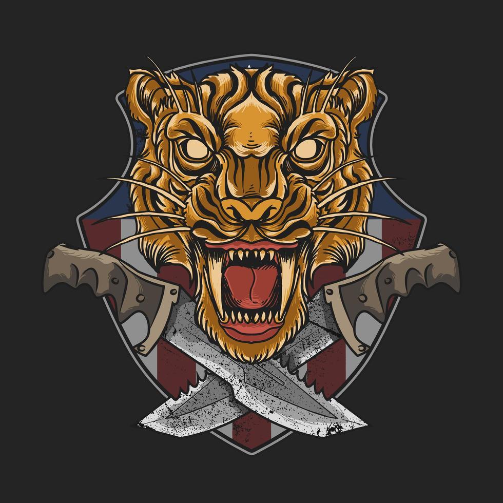 emblema da cabeça de tigre com punhais cruzados vetor