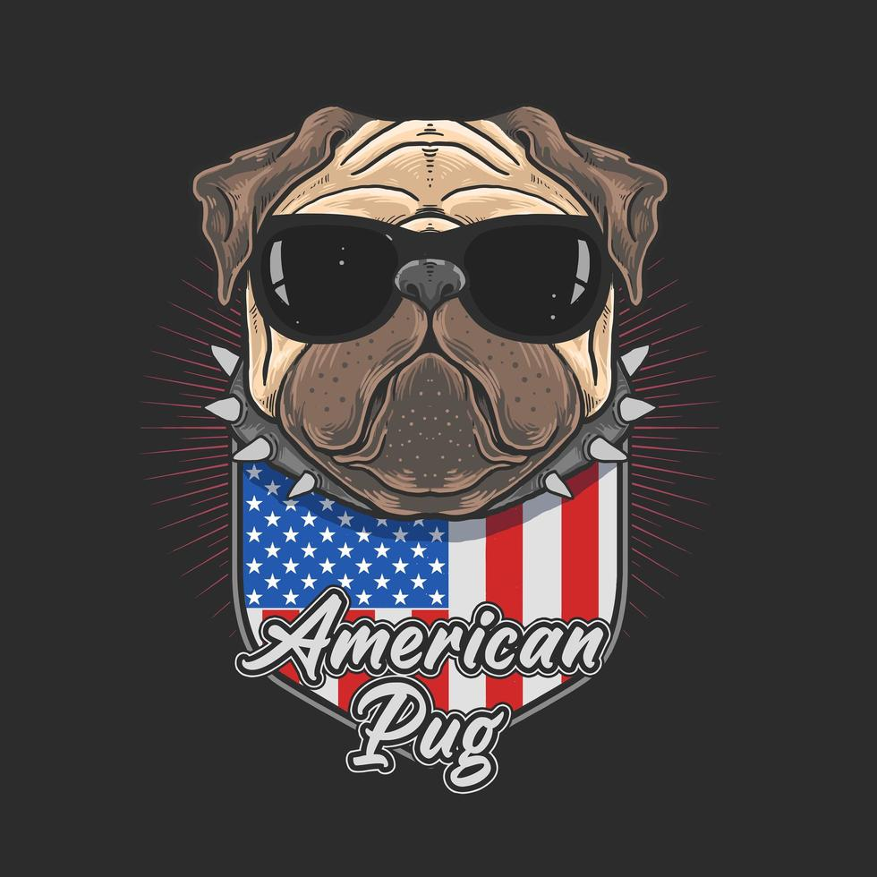 pug americano com óculos escuros vetor