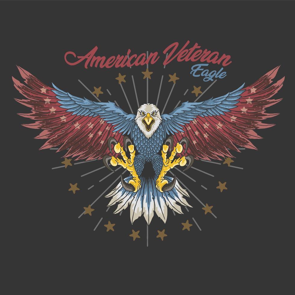 projeto americano da águia do veterano vetor