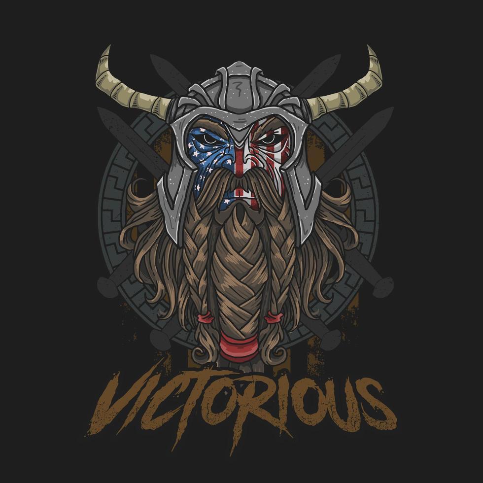 projeto vitorioso do guerreiro americano vetor