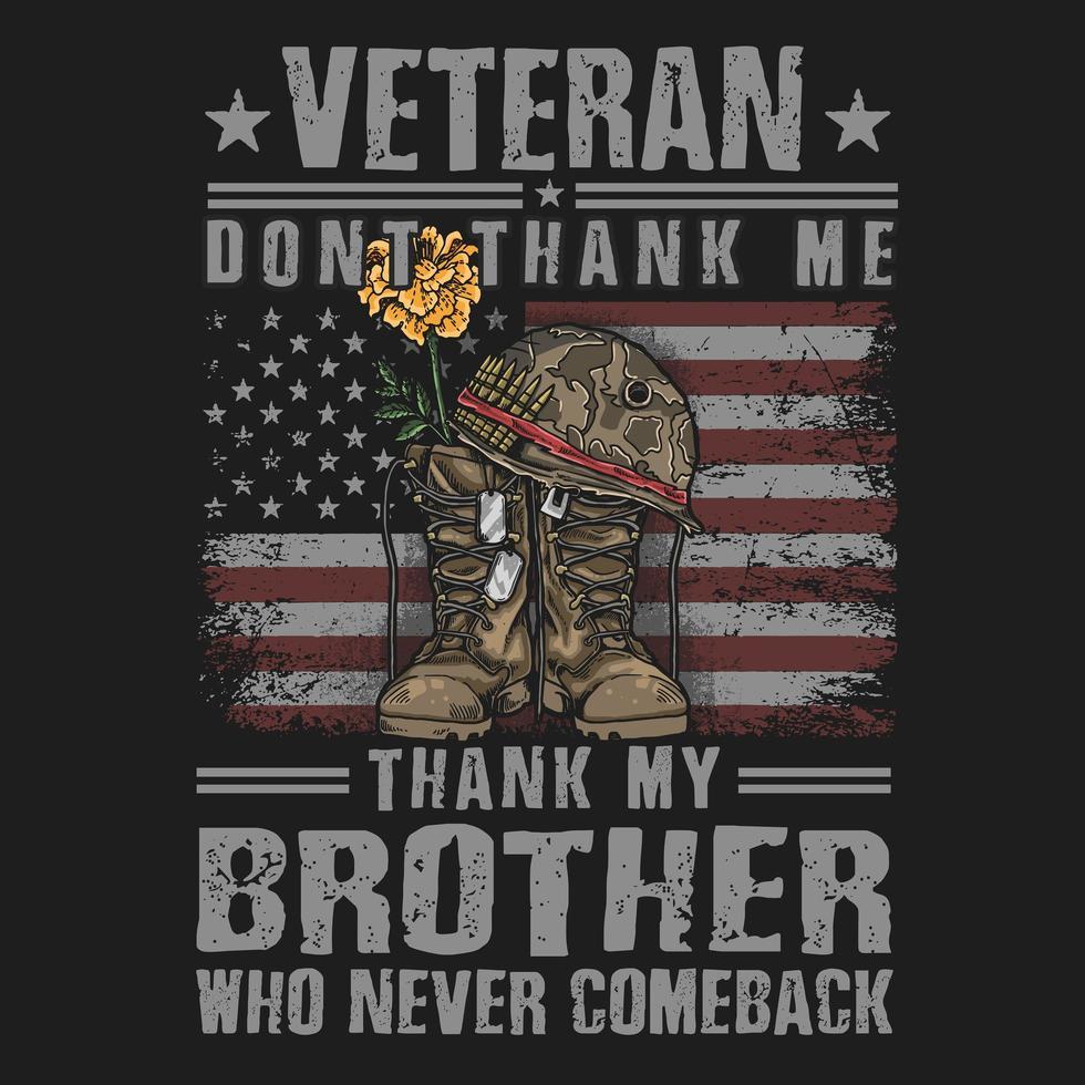 bota do exército veterano e design de t-shirt de citação vetor