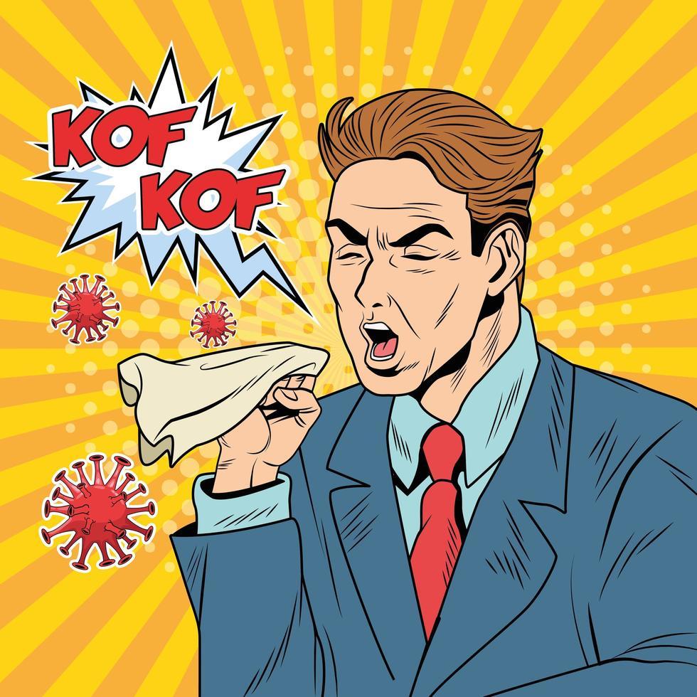 homem doente tossindo por doença covid-19 vetor
