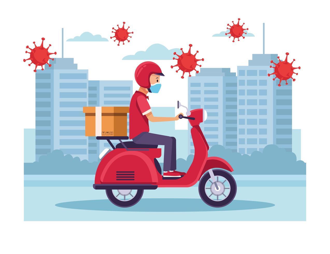 correio no serviço de entrega de motocicletas com partículas covid-19 vetor