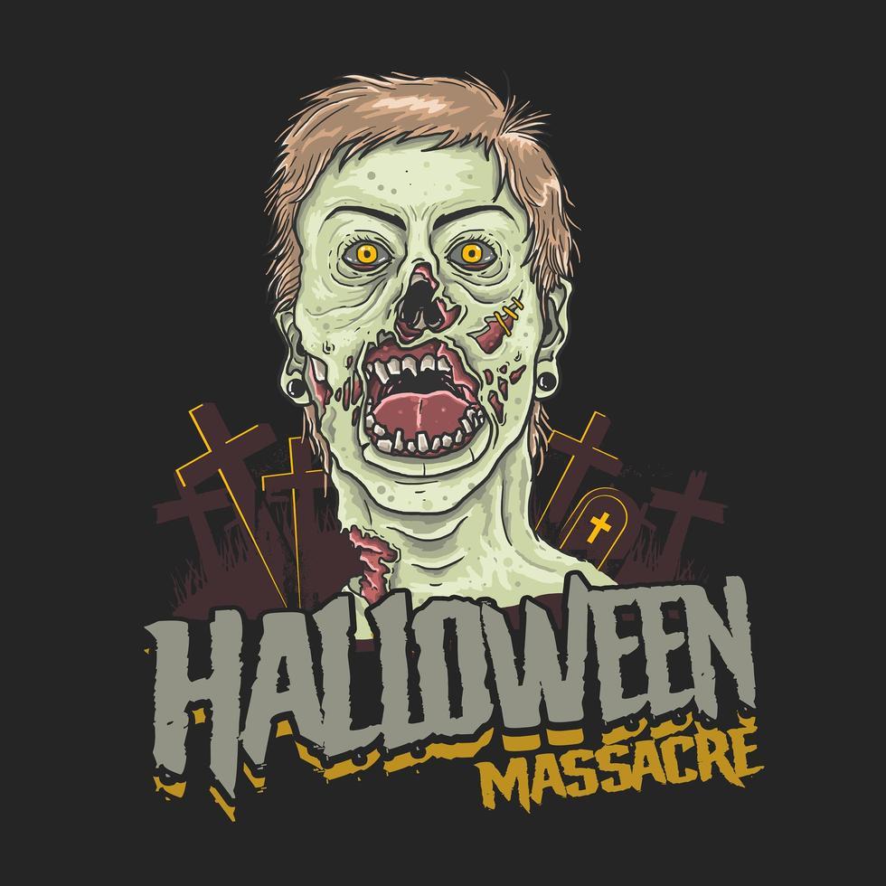 cabeça de zumbi de massacre de halloween vetor