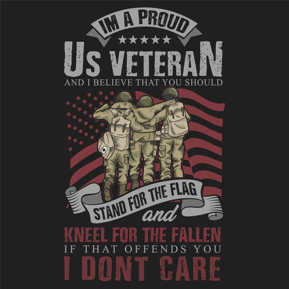 orgulhoso design do t-shirt das citações do veterano vetor