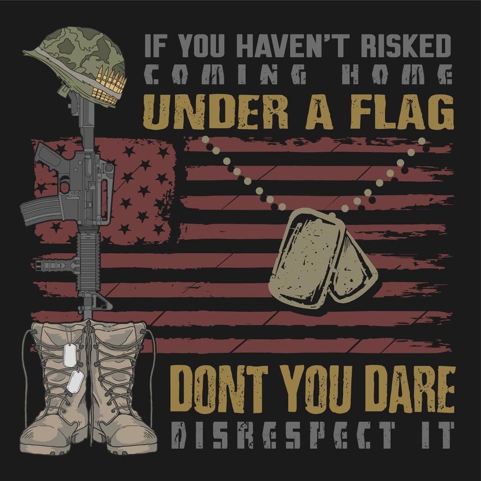 botas e dog tag bandeira e citação design vetor