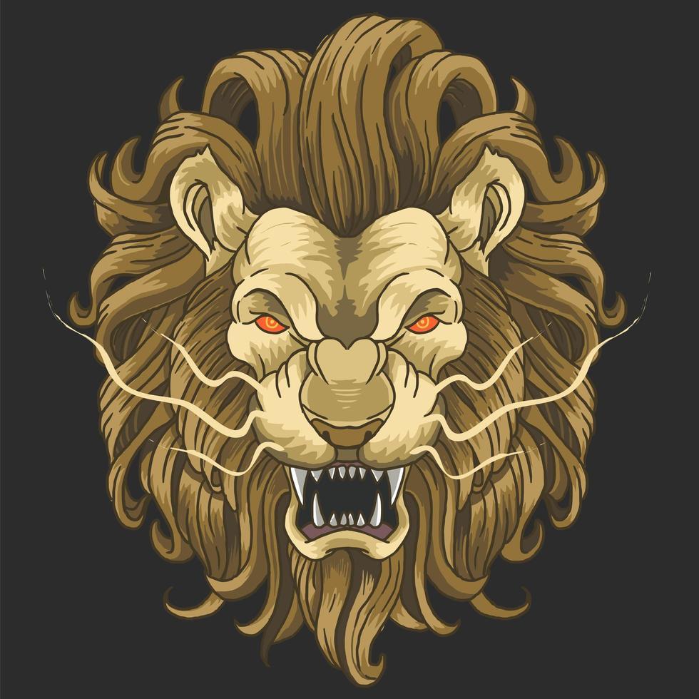 cabeça de leão com cara feia vetor