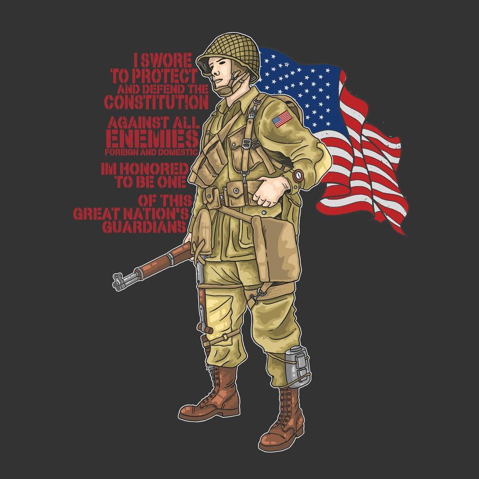 soldado da guerra mundial americana com bandeira e citação vetor