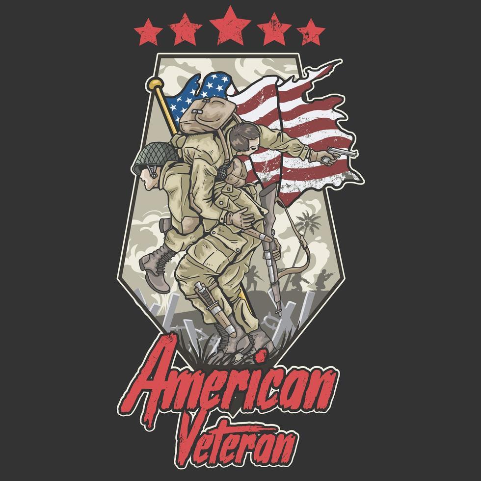 design de veterano do exército americano com soldado sendo carregado vetor