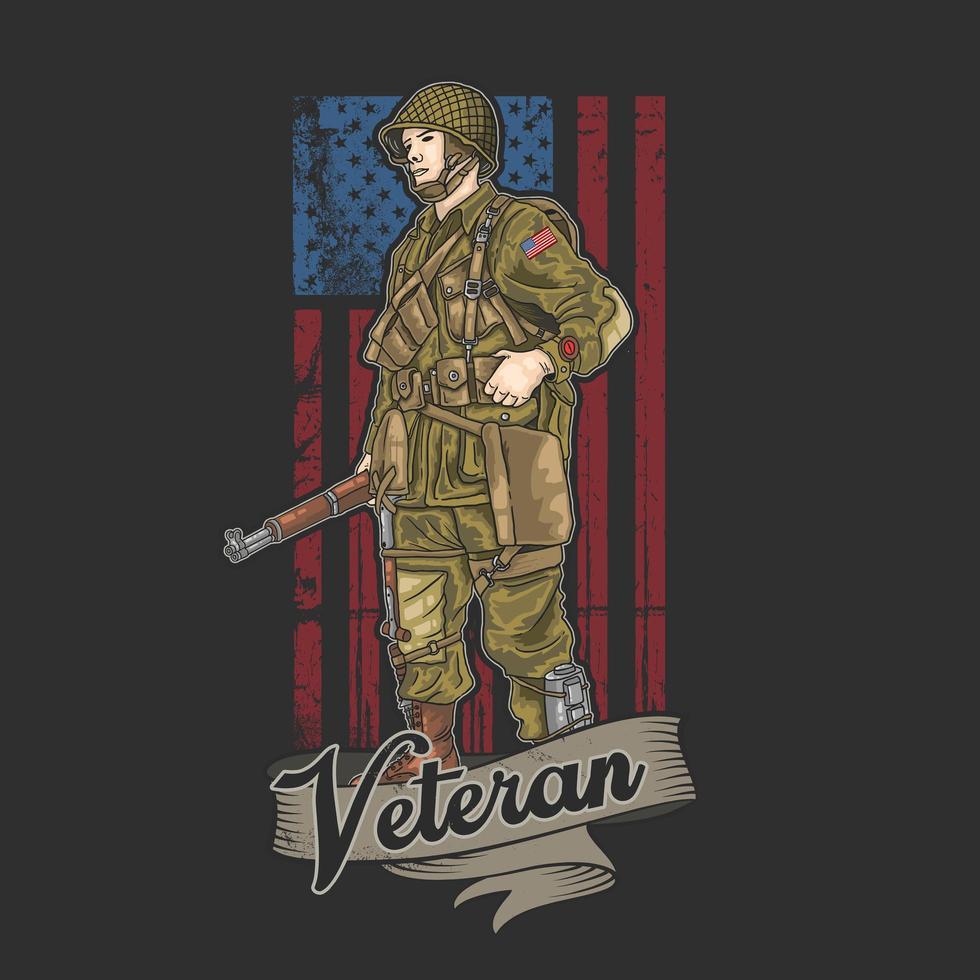 veterano na frente da bandeira americana de estilo grunge vetor