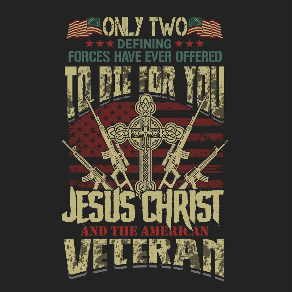 emblema de jesus cristo veterano americano para desenhos de t-shirt vetor