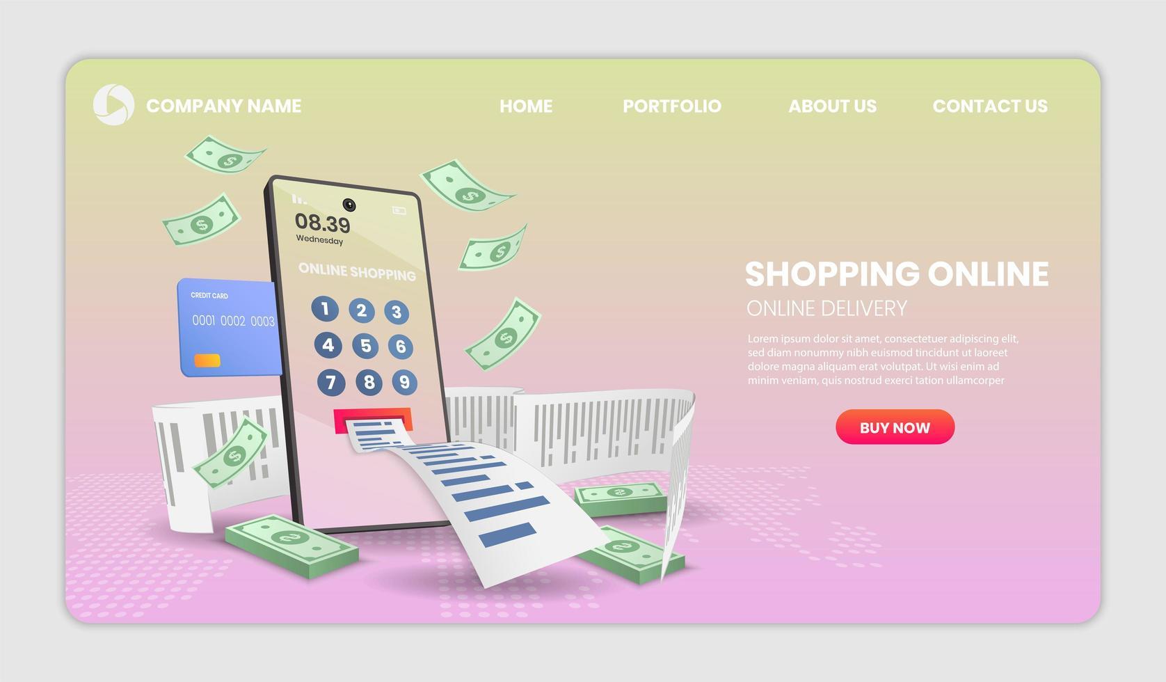 compras on-line no celular com o modelo de site de recibo vetor
