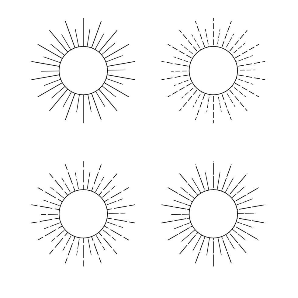 ícones de sol de estilo de linha vetor