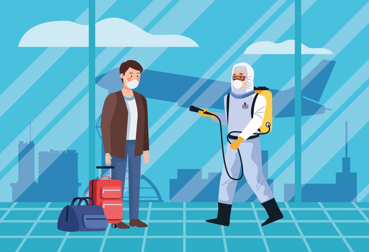 trabalhador de biossegurança desinfetar passageiros no aeroporto para covid-19 vetor