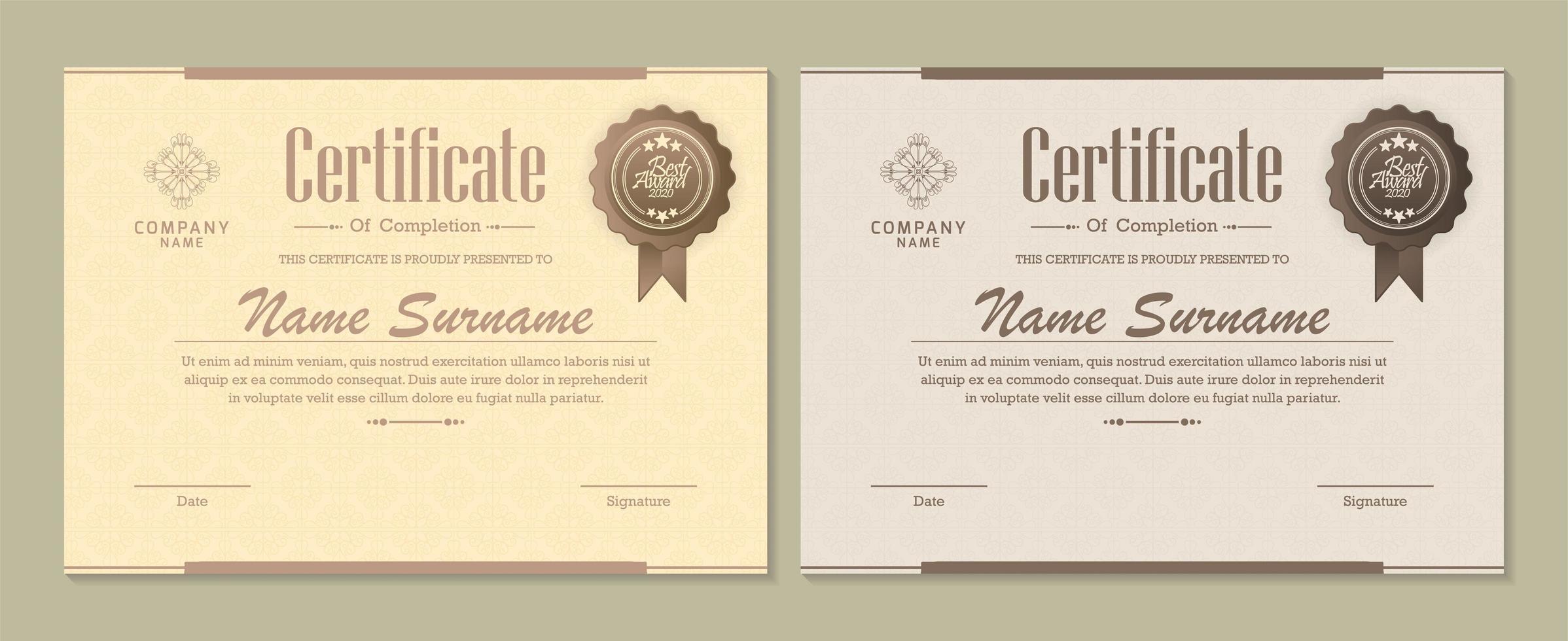 diploma certificado definido com emblemas vetor