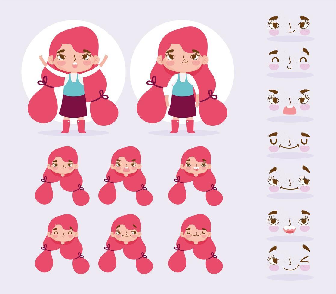 personagem de menina pequena com diferentes cabeças e rostos definido vetor