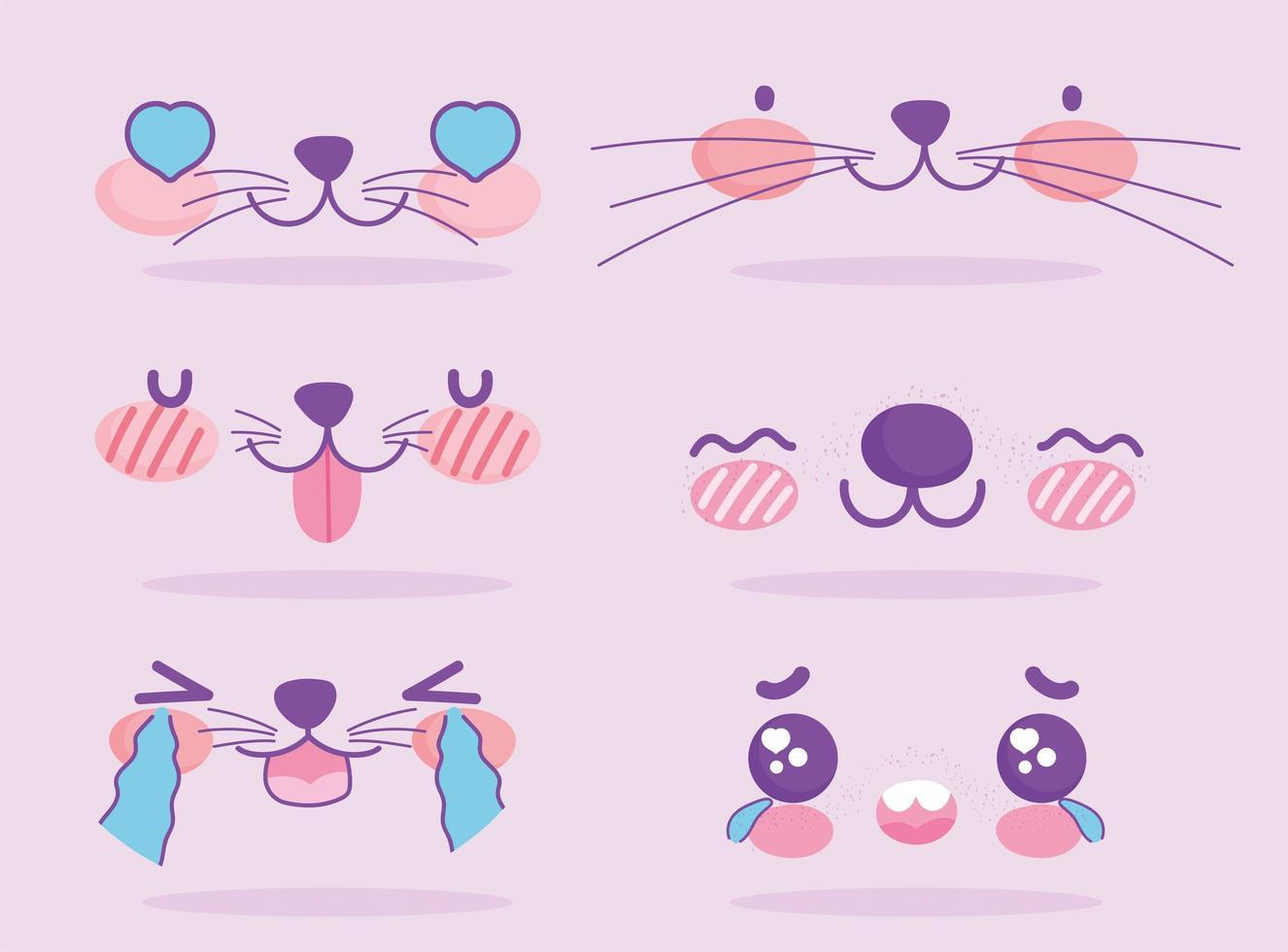 conjunto emoji de expressões faciais kawaii fofas vetor