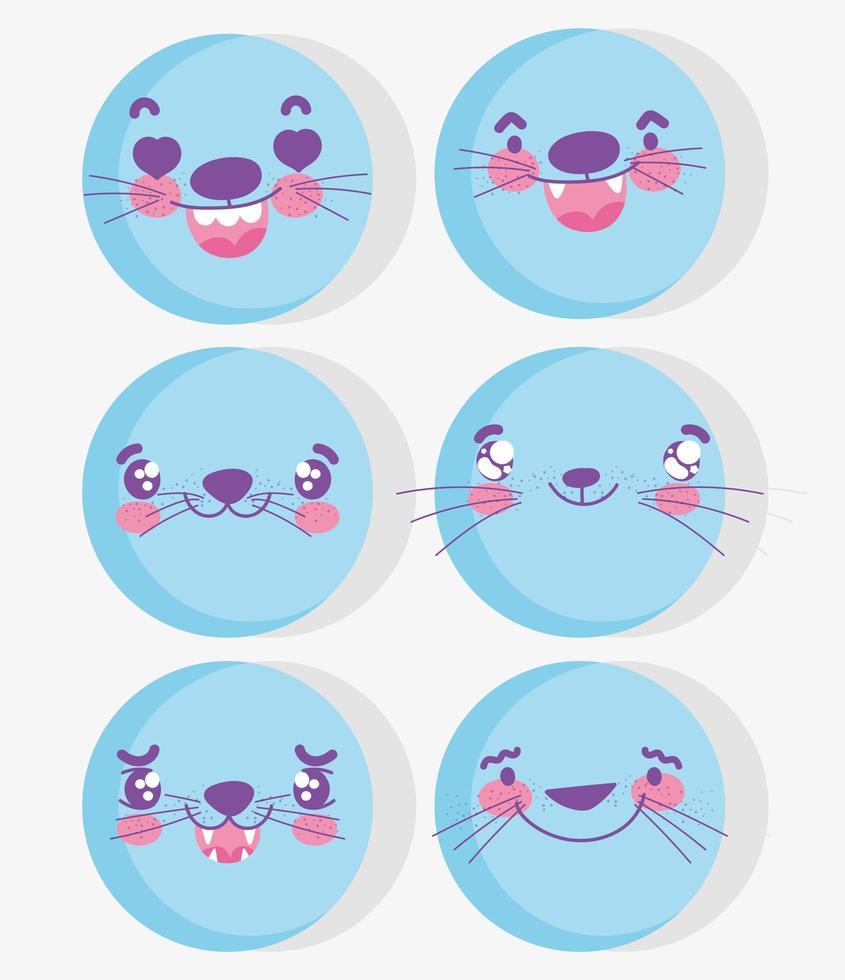 Conjunto de emoji de rostos de animais fofos kawaii vetor