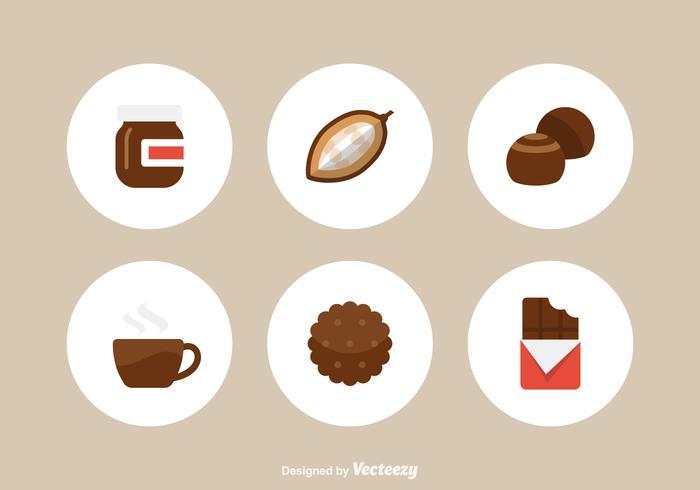 Ícones vetoriais de chocolate plano grátis vetor