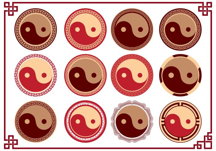 Coleção de símbolo do logotipo de Yin Yang Tai Chi Logo vetor