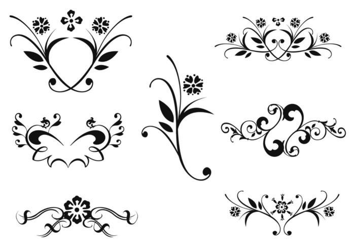 Pacote de vetores de ornamentos florais dois
