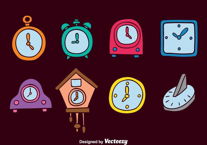 Conjuntos de vetores de relógio desenhados à mão de cores
