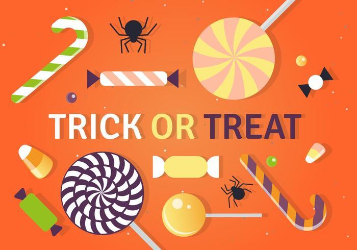 Ilustração do vetor dos doces da doçura ou travessura do Dia das Bruxas