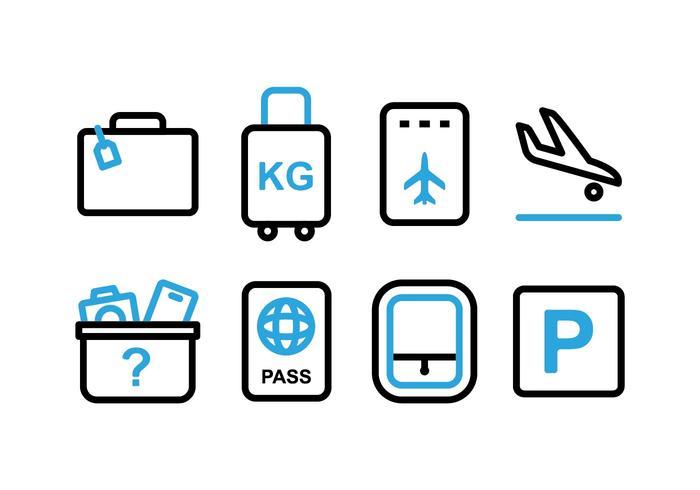 Ícones gratuitos de dois tons de aeroporto vetor
