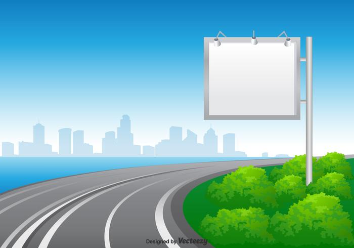 Blank Blank Hoarding At The Road Vector