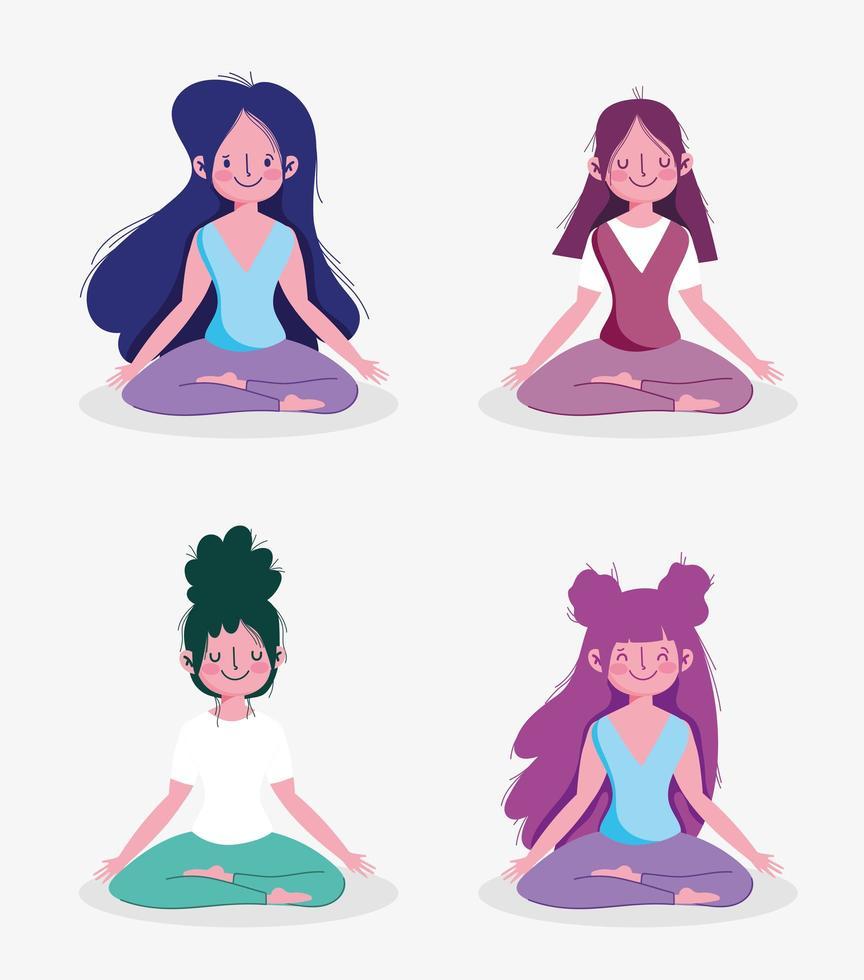 grupo de mulheres praticando poses de ioga vetor