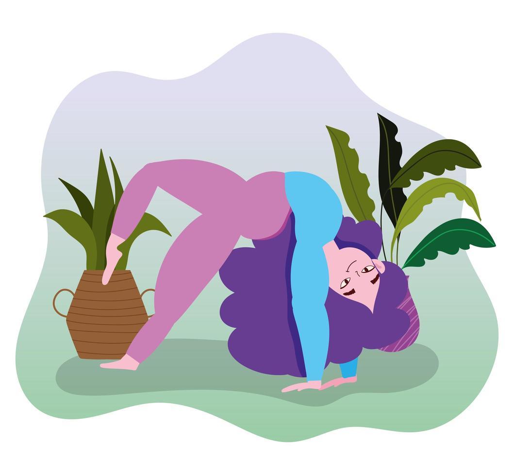 jovem praticando ioga vetor