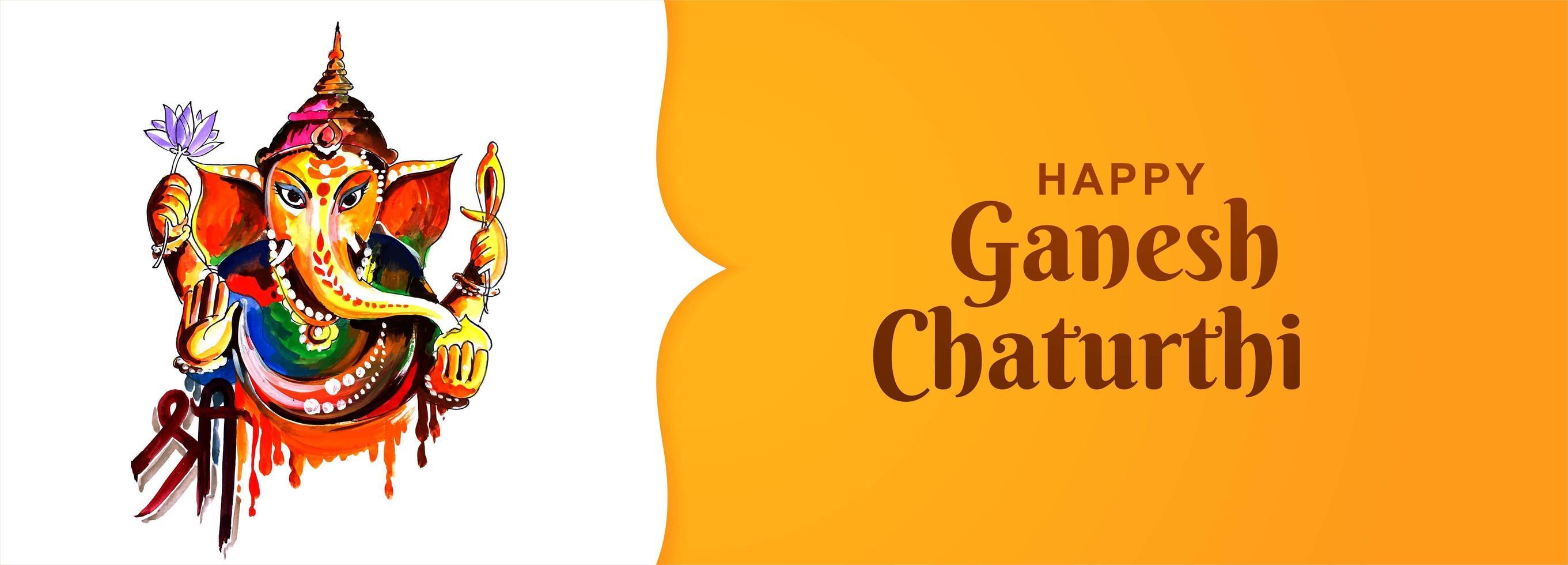 banner cartão festival feliz ganesh chaturthi utsav vetor