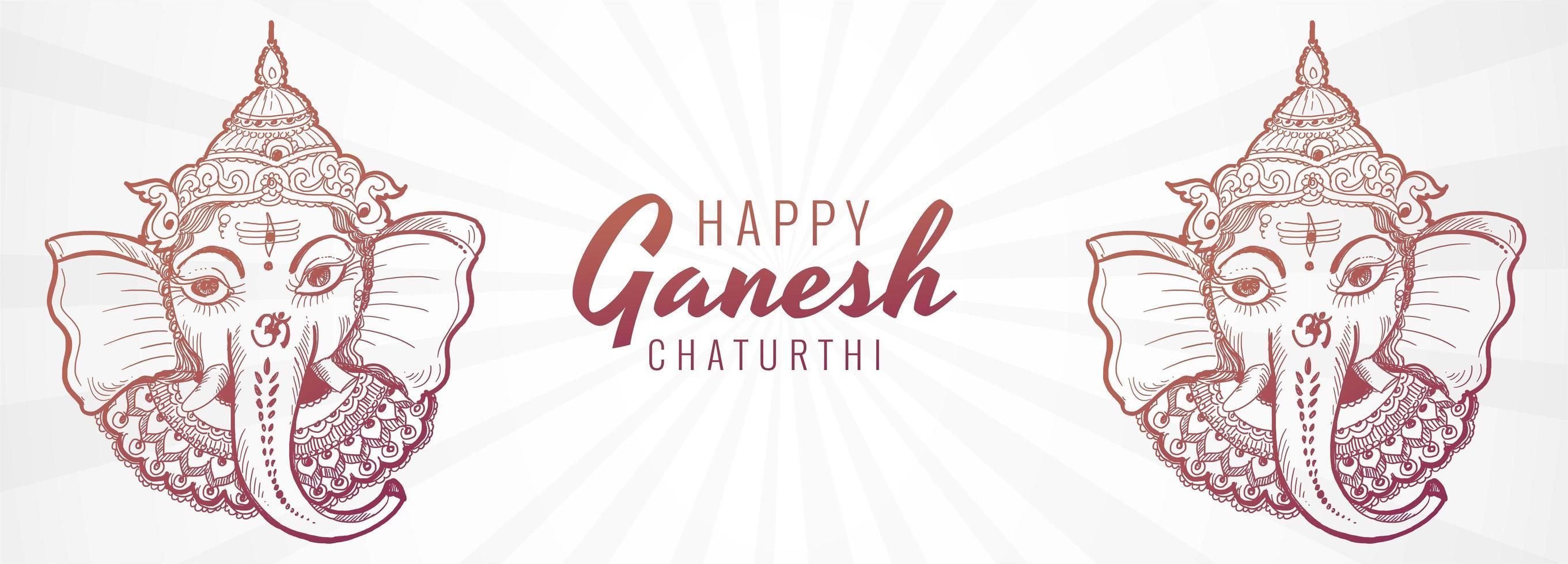 banner criativo artístico do festival ganesh chaturthi vetor