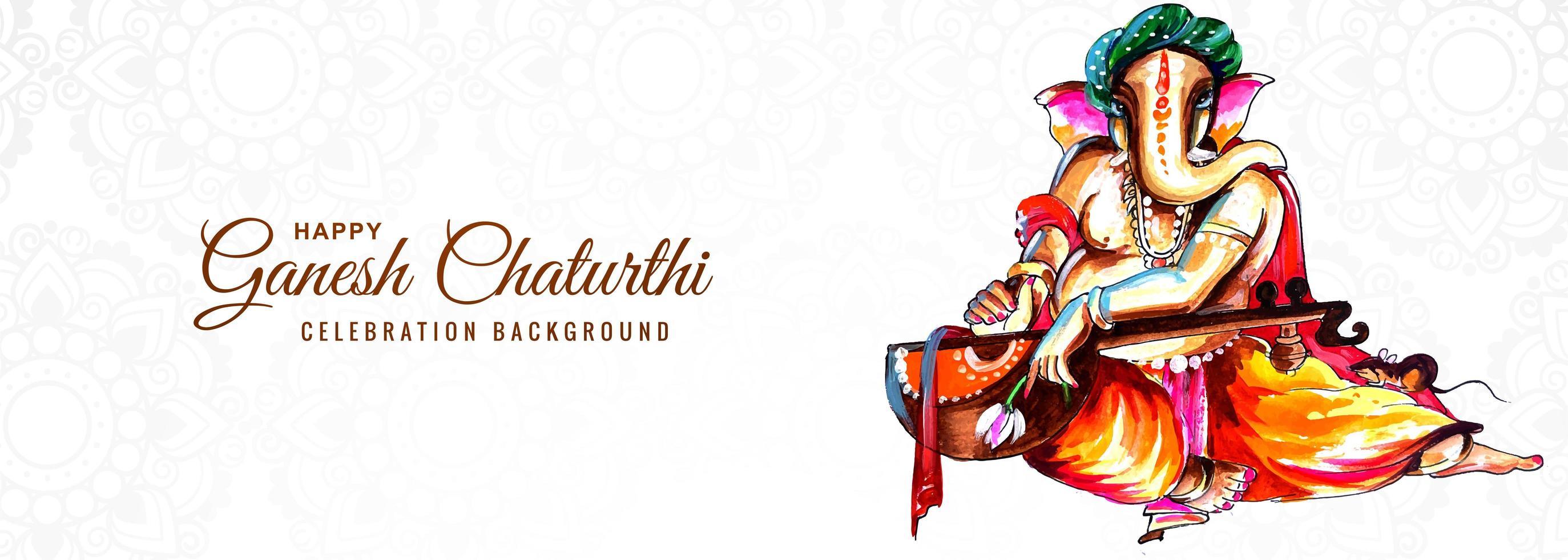 fundo de banner de festival religioso indiano ganesh chaturthi vetor