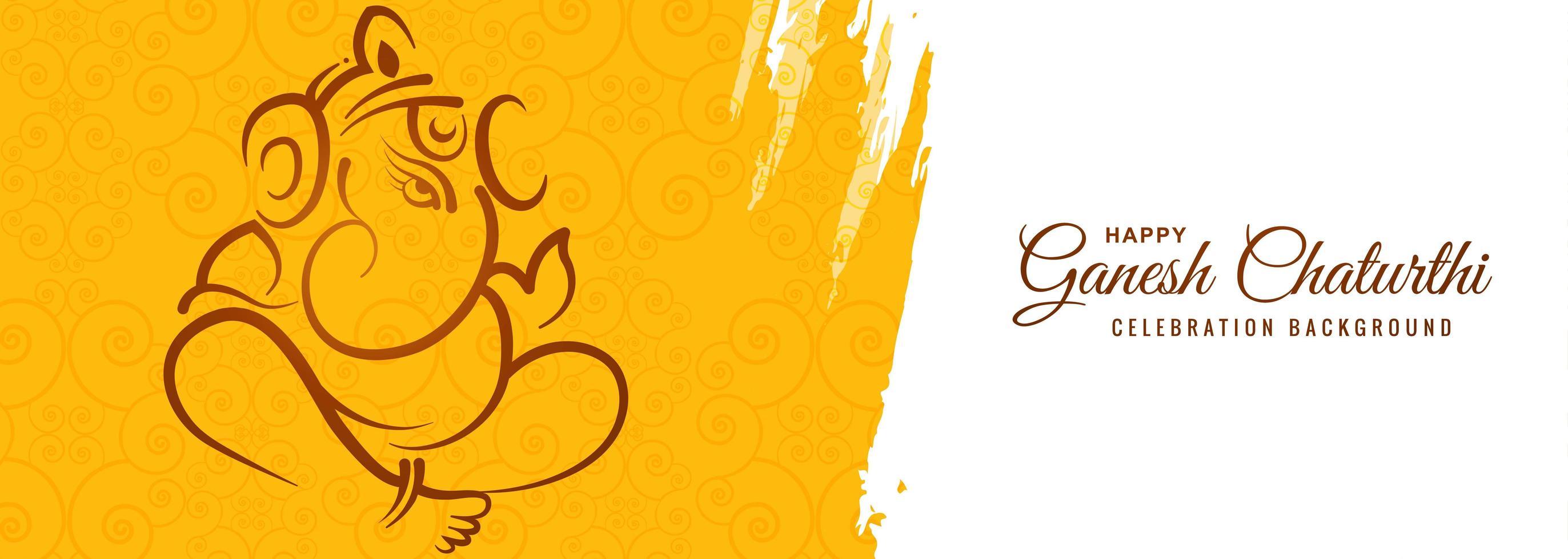 banner de cartão festival feliz ganesh chaturthi pintura amarela vetor