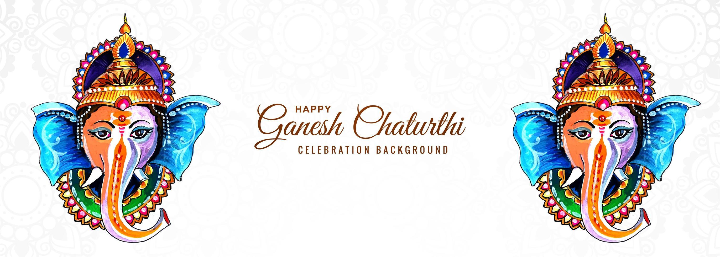 deus hindu ganesha para banner feliz festival ganesh chaturthi vetor