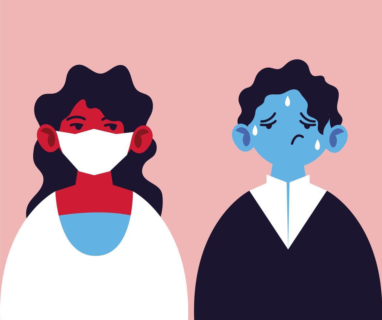 duas pessoas com máscara médica e febre vetor