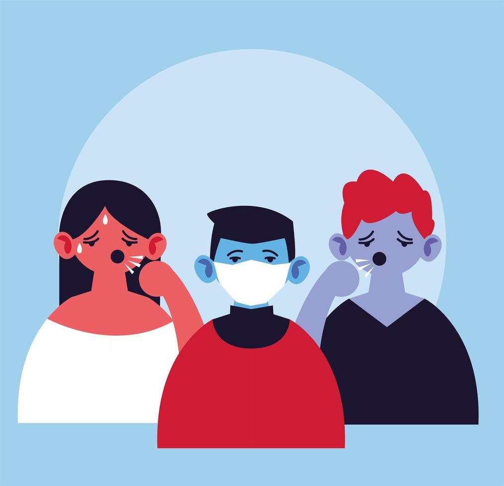 pessoas com máscara facial médica, tosse e febre vetor