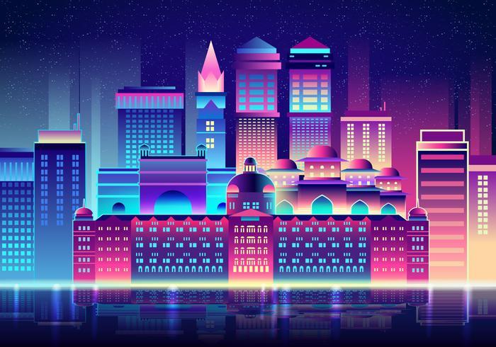 Mumbai Na Noite vetor