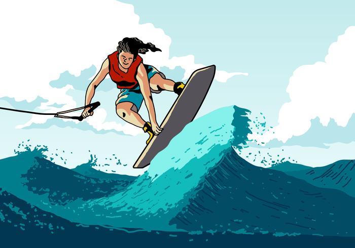 Homem wakeboard fazendo um truque vetor