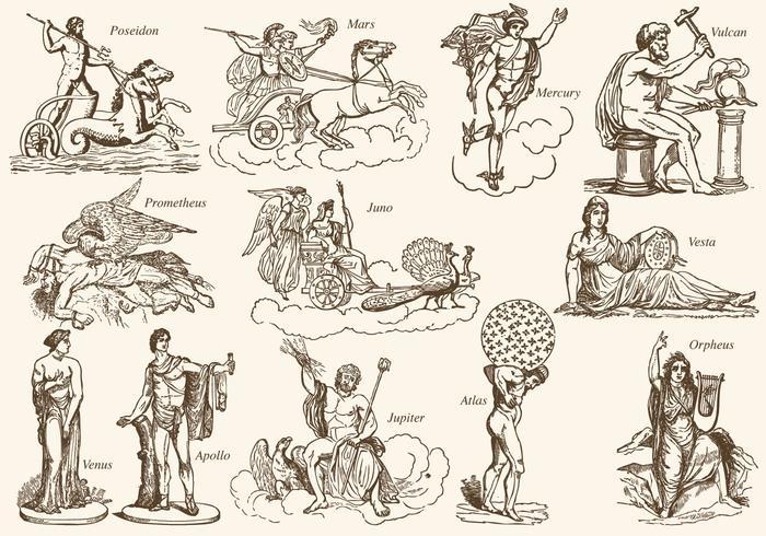 Personagens da mitologia grega vetor