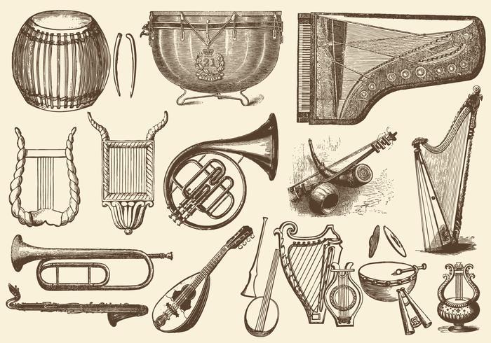 Instrumentos de música da orquestra do vintage vetor