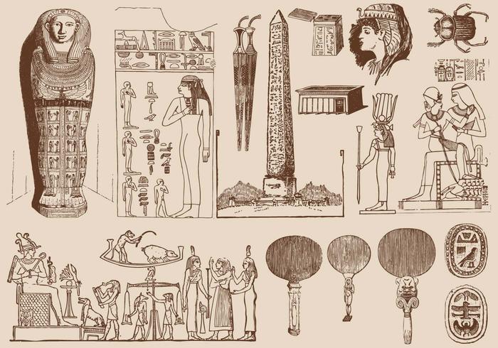 Arte marrom egípcio vetor