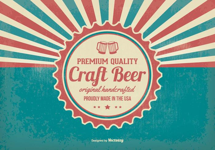 Fundo promocional retro de cerveja Crafted vetor