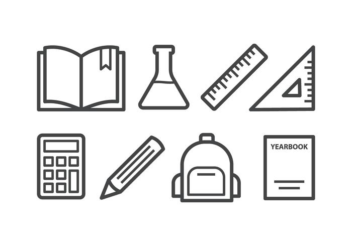 Conjunto de ícones grátis da escola vetor