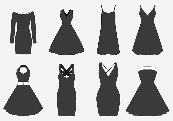 Conjunto de vestidos pretos vetor