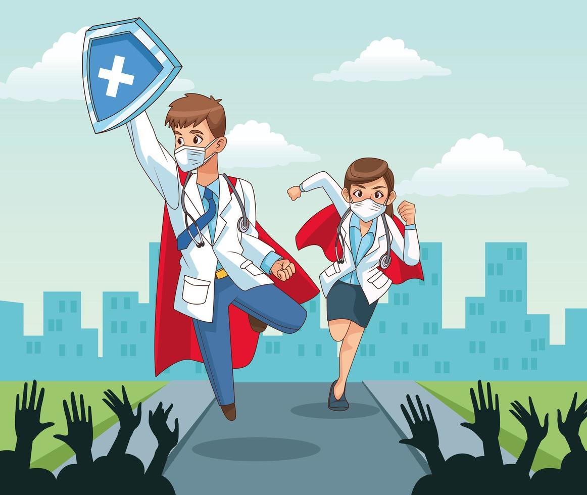 super médicos com pessoas torcendo vetor